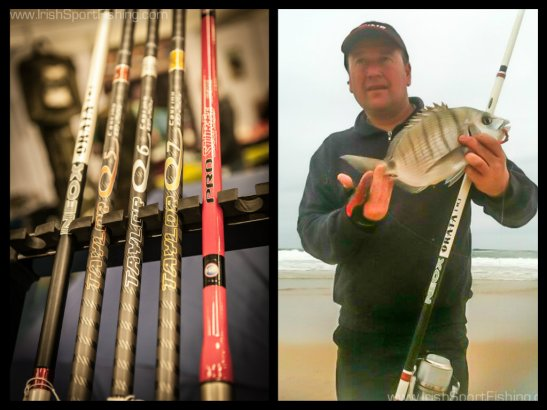 (Left) A selection of Yuki rods including the Neox Orata, Q5, Q6, Q7 and Pro Surf. (Right) Alan Price with a Bream caught using the Yuki Neox Orata.